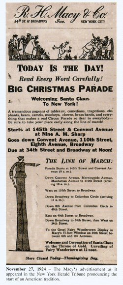 Macy's first parade ad