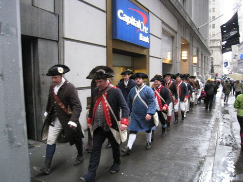 Re-enactors on wall street for evacuation day