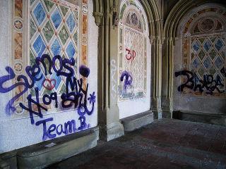 Gothamist vandalism bethesda terrace arcade